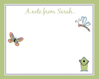20 Personalized Notecards with Envelopes - Birdhouse and Butterfly