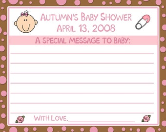 24 Baby Shower Message To Baby Cards - Pink and Chocolate Brown