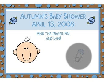 24 Baby Shower Scratch Off Cards  - Baby Blue and Chocolate Brown