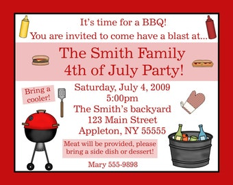 20 Personalized Summer BBQ Invites     4th of July      Family Reunion