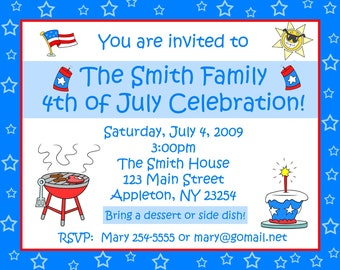 20 Personalized  4th of July BBQ Party Invitations