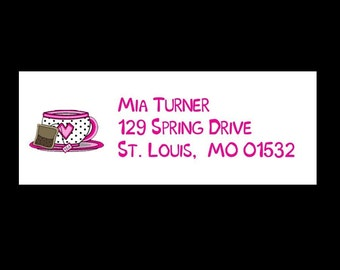 30  TEA PARTY  Return Address Labels  - Tea Cup Labels - Baby Shower - Birthday - Any Occasion