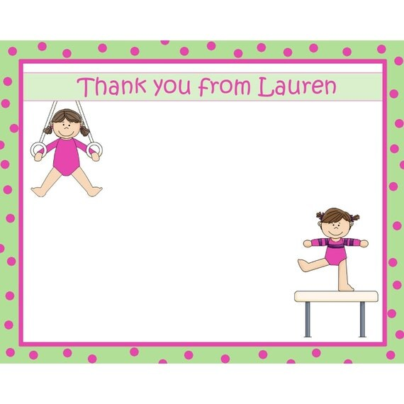 20 Personalized Gymnastics Thank You Cards