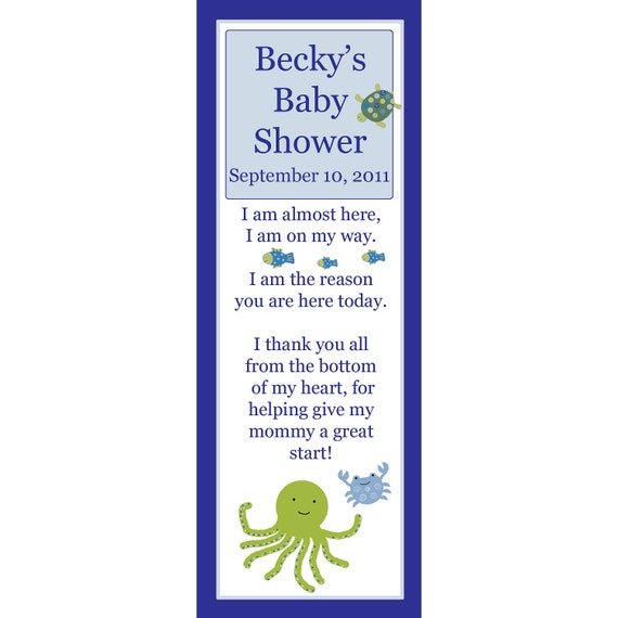 16 Personalized Baby Shower Keepsake Bookmarks  UNDER THE SEA