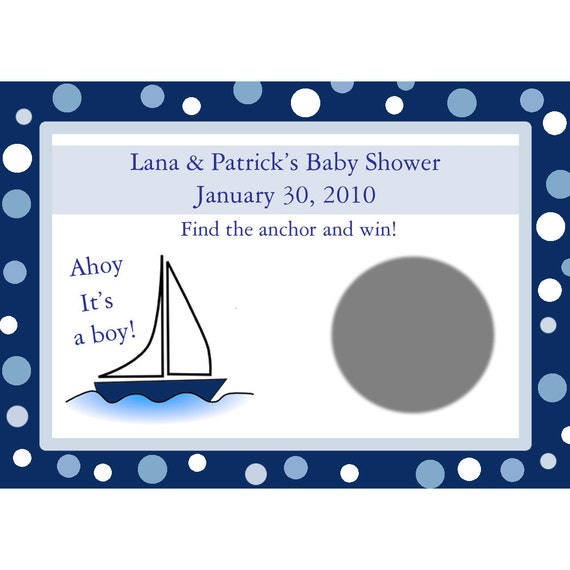 24 Baby Shower Scratch Off Game Cards  - AHOY IT'S A BOY