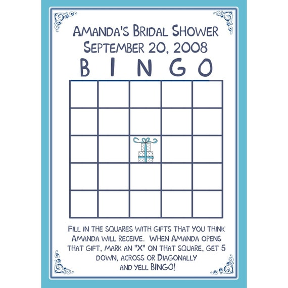 24 Bridal Shower BINGO Card Game PERSONALIZED by partyplace