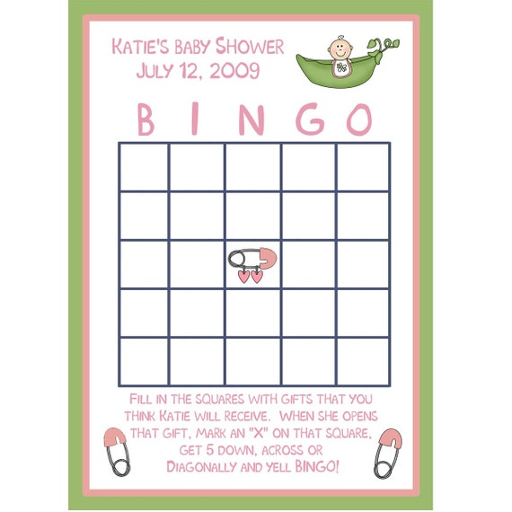 24 personalized baby shower bingo cards by partyplace on etsy