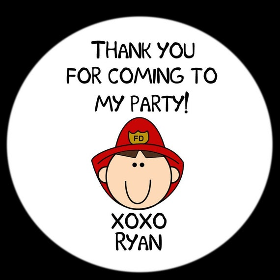 Personalized Fireman Birthday Party Stickers - Available in four sizes - Fireman Themed Birthday Stickers