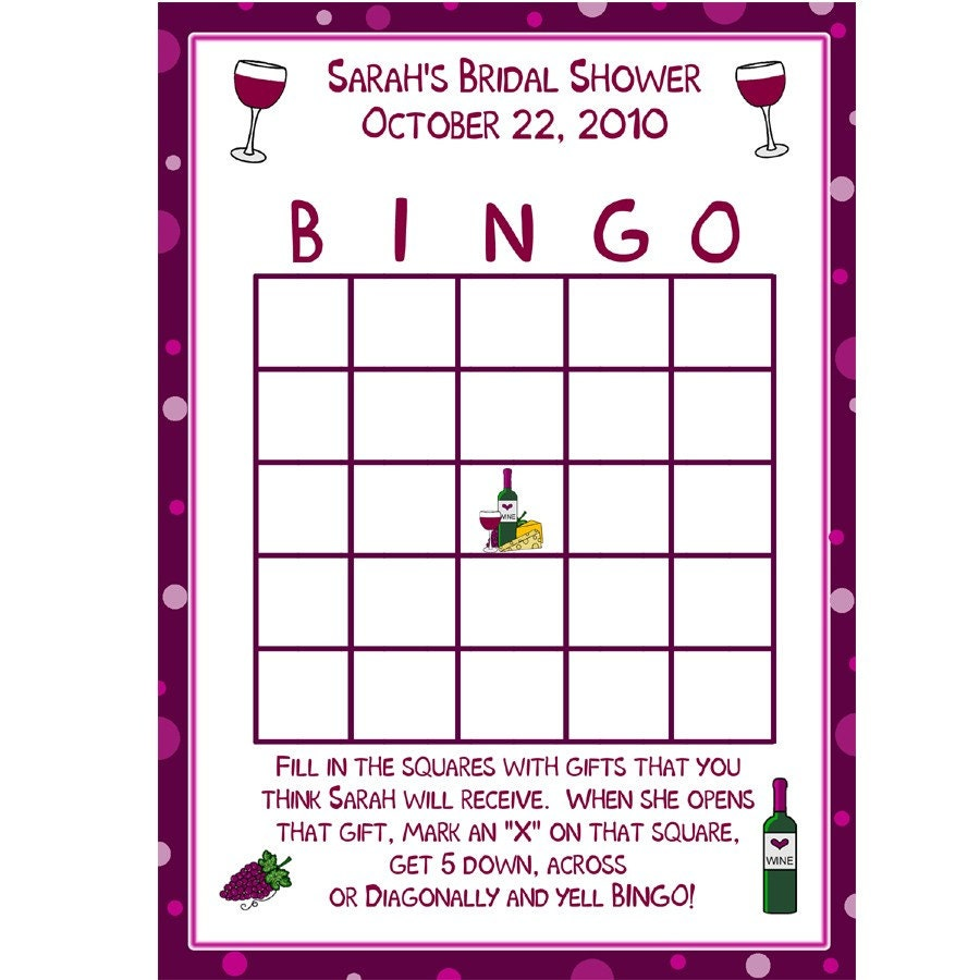 24 Personalized Bridal Shower Bingo Game Cards By Partyplace