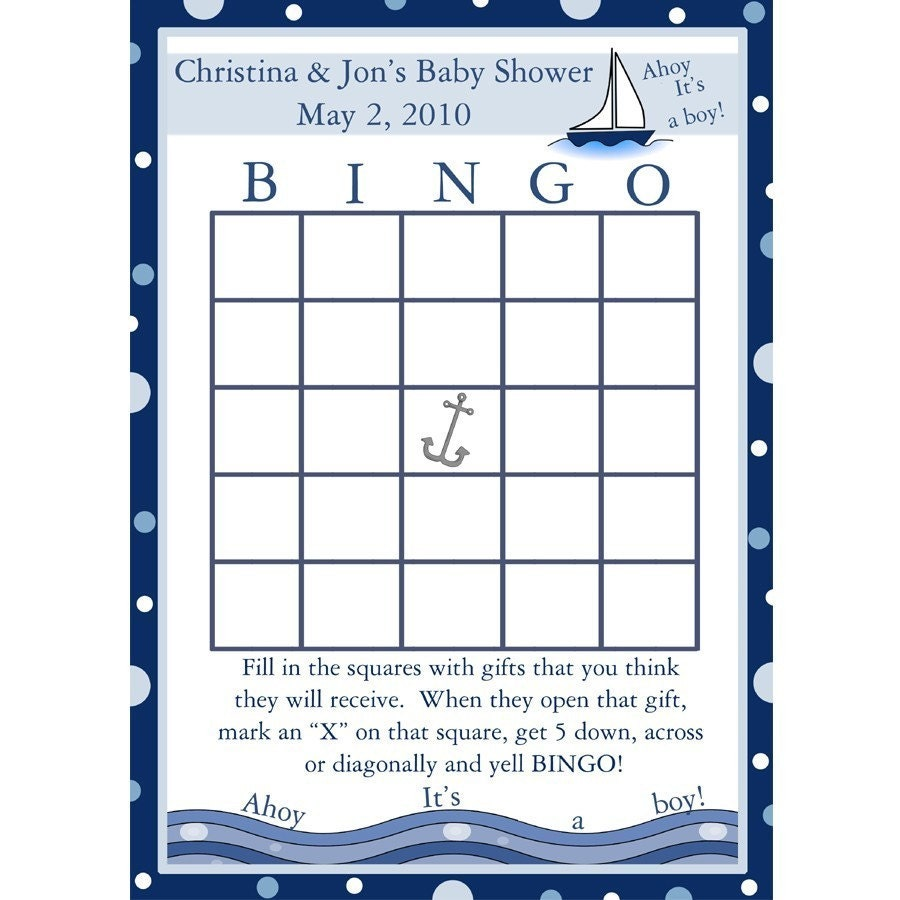 24 Personalized Baby Shower Bingo Cards Ahoy Its A Boy