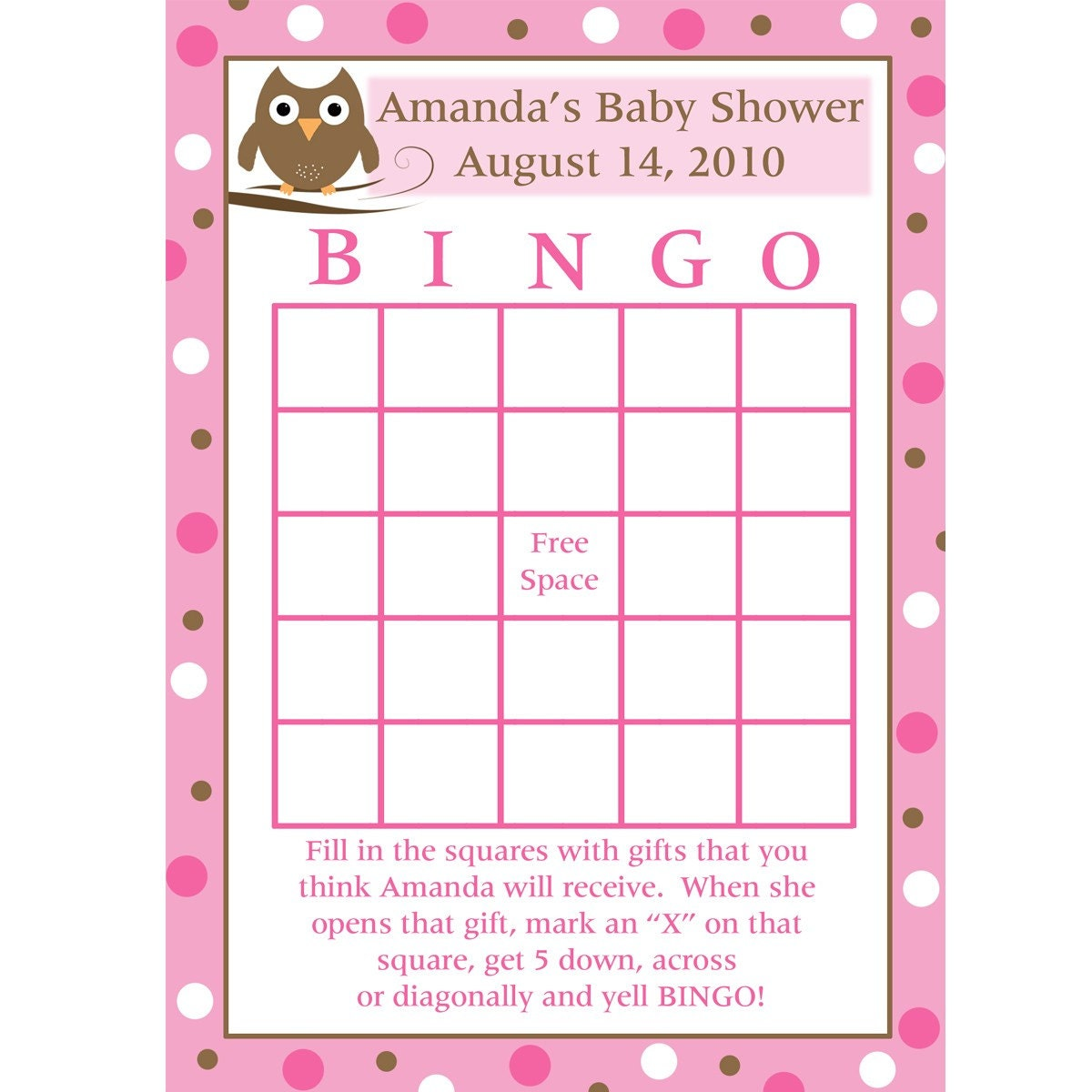 printable baby shower bingo cards pink baby owl design