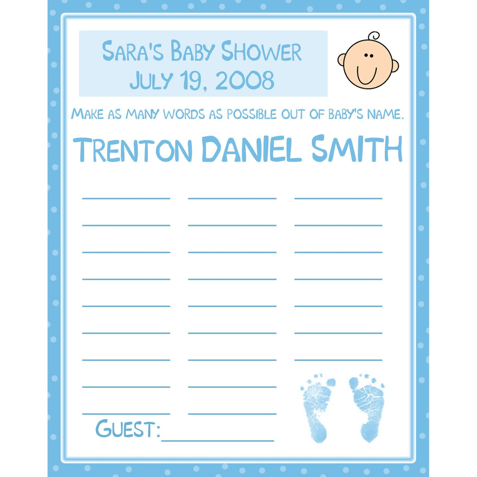 Baby Shower Name Game