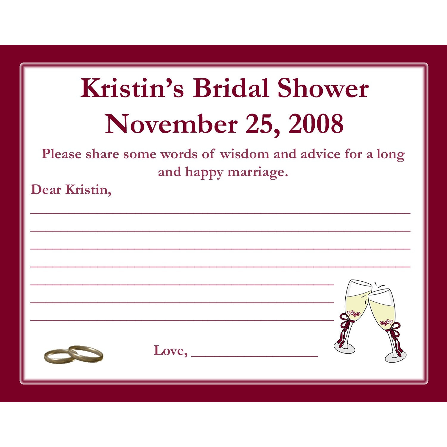 24 bridal shower advice cards champagne glasses