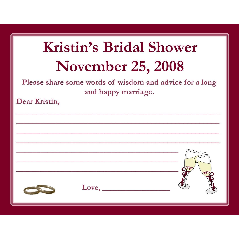 24 bridal shower advice cards champagne glasses