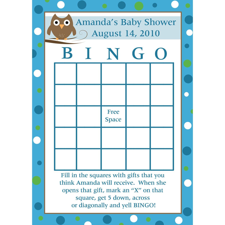 Make Your Own Bingo Card: 24 Personalized Baby Shower Bingo Cards Baby Owl Design