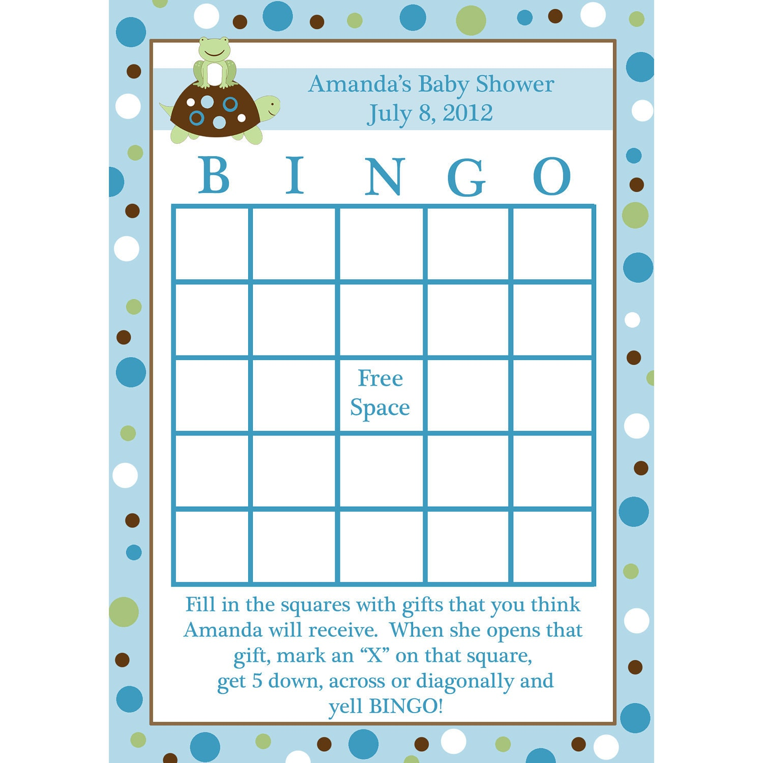24 personalized baby shower bingo cards turtle and frog