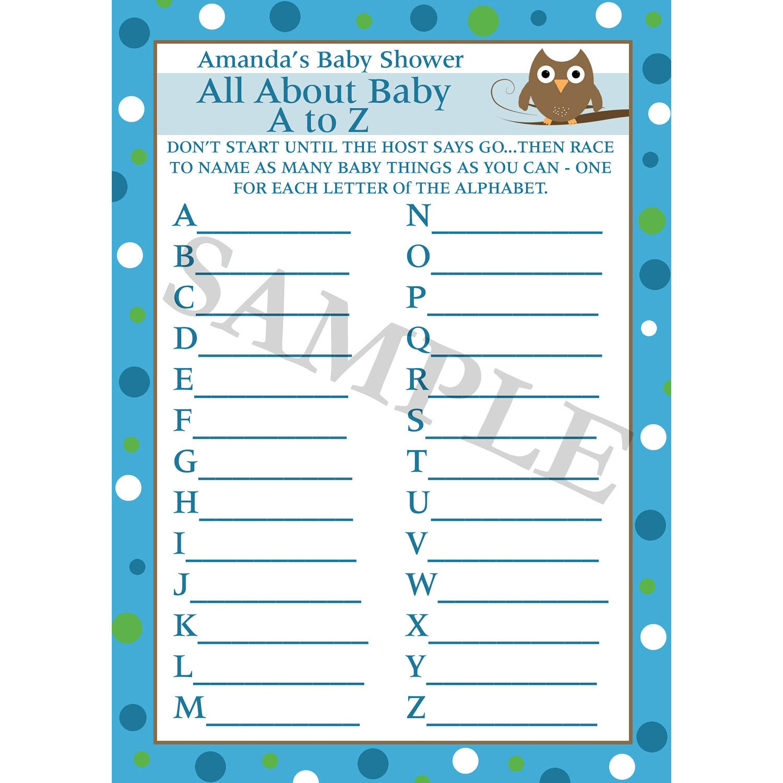 24 Personalizada Baby Shower A Z juego bebé búho