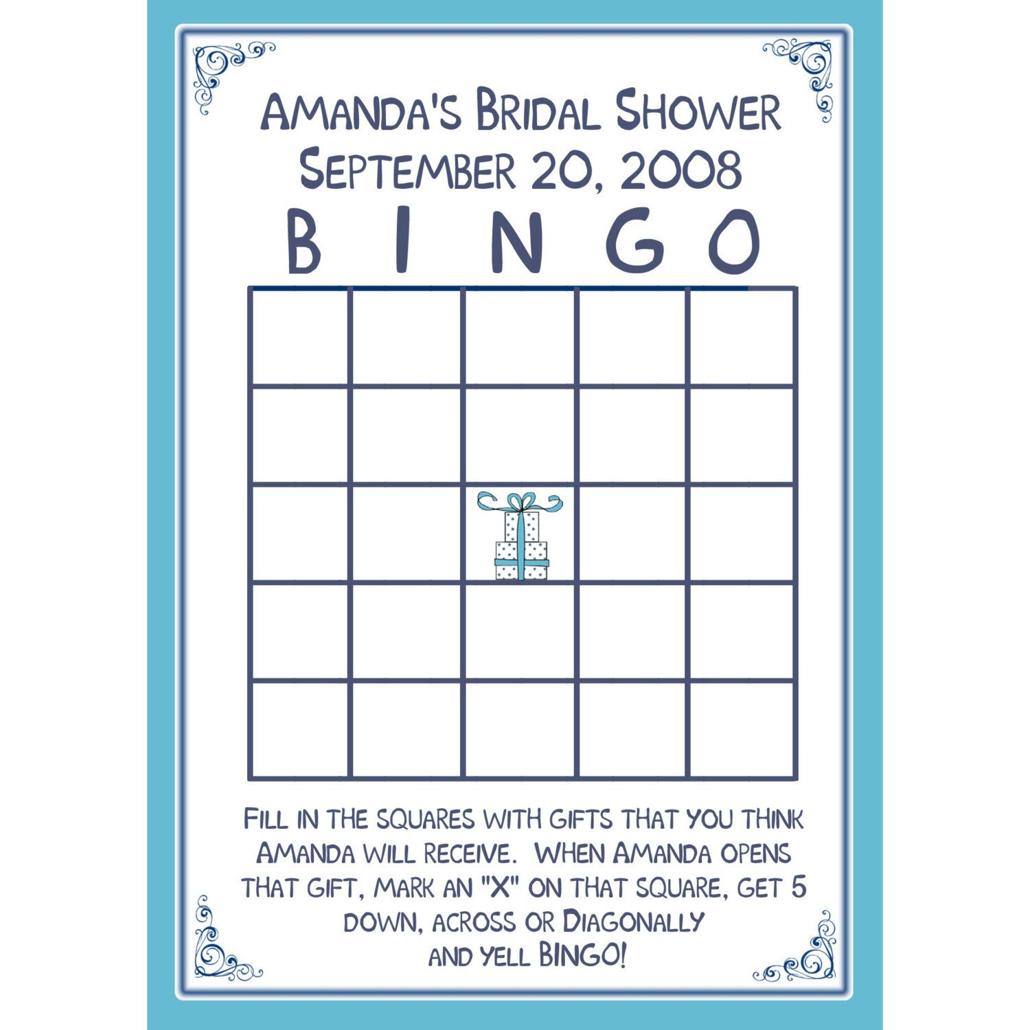 Bridal Shower BINGO Card Game PERSONALIZED