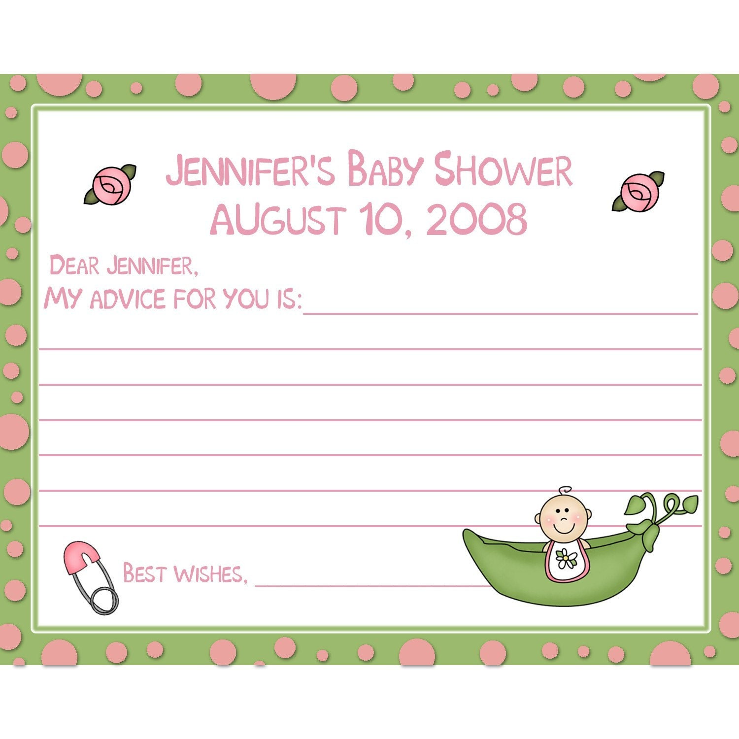 Baby Shower Tips For New Moms: 24 Baby Shower Advice Cards Sweet Pea