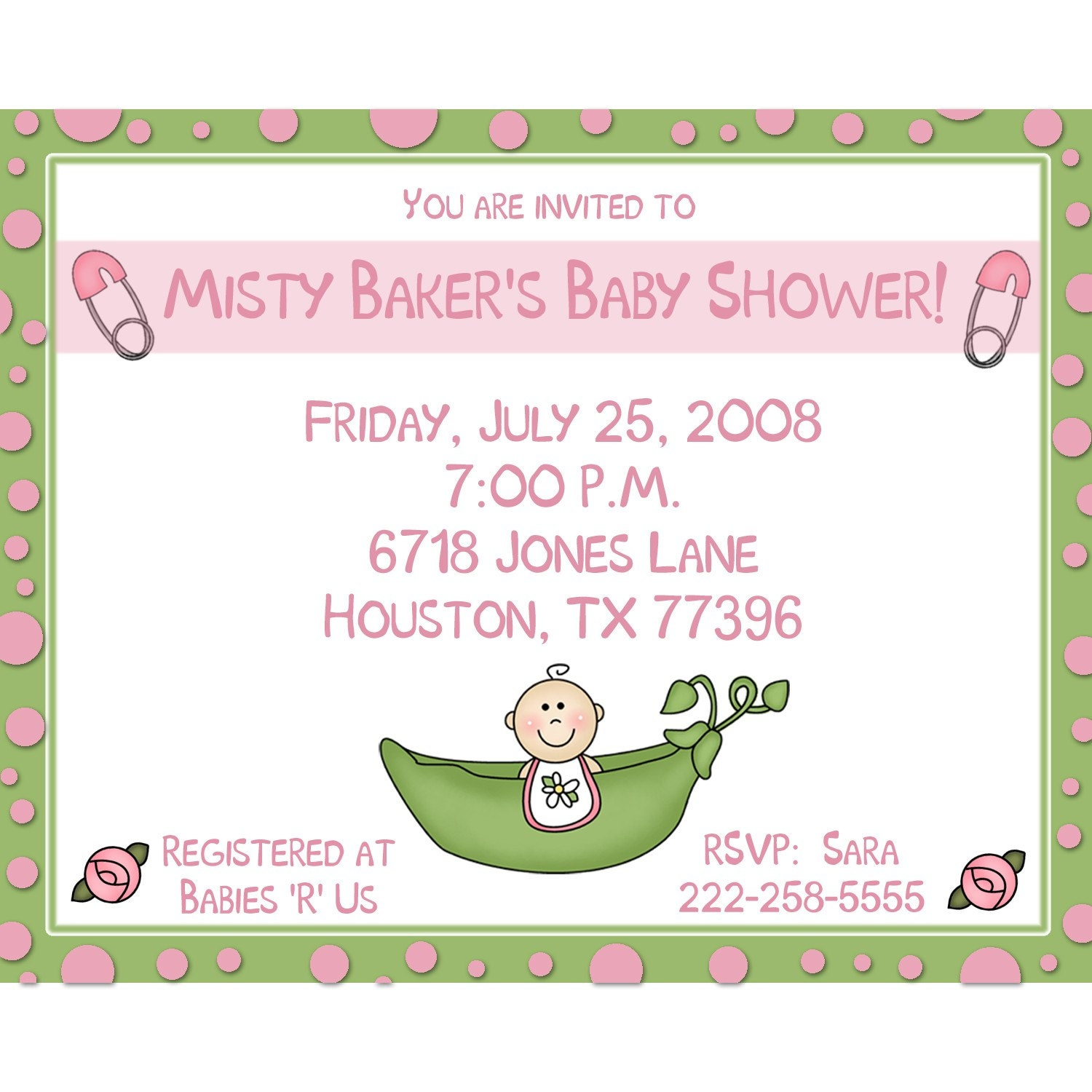 20 personalized baby shower invitations pink sweet pea