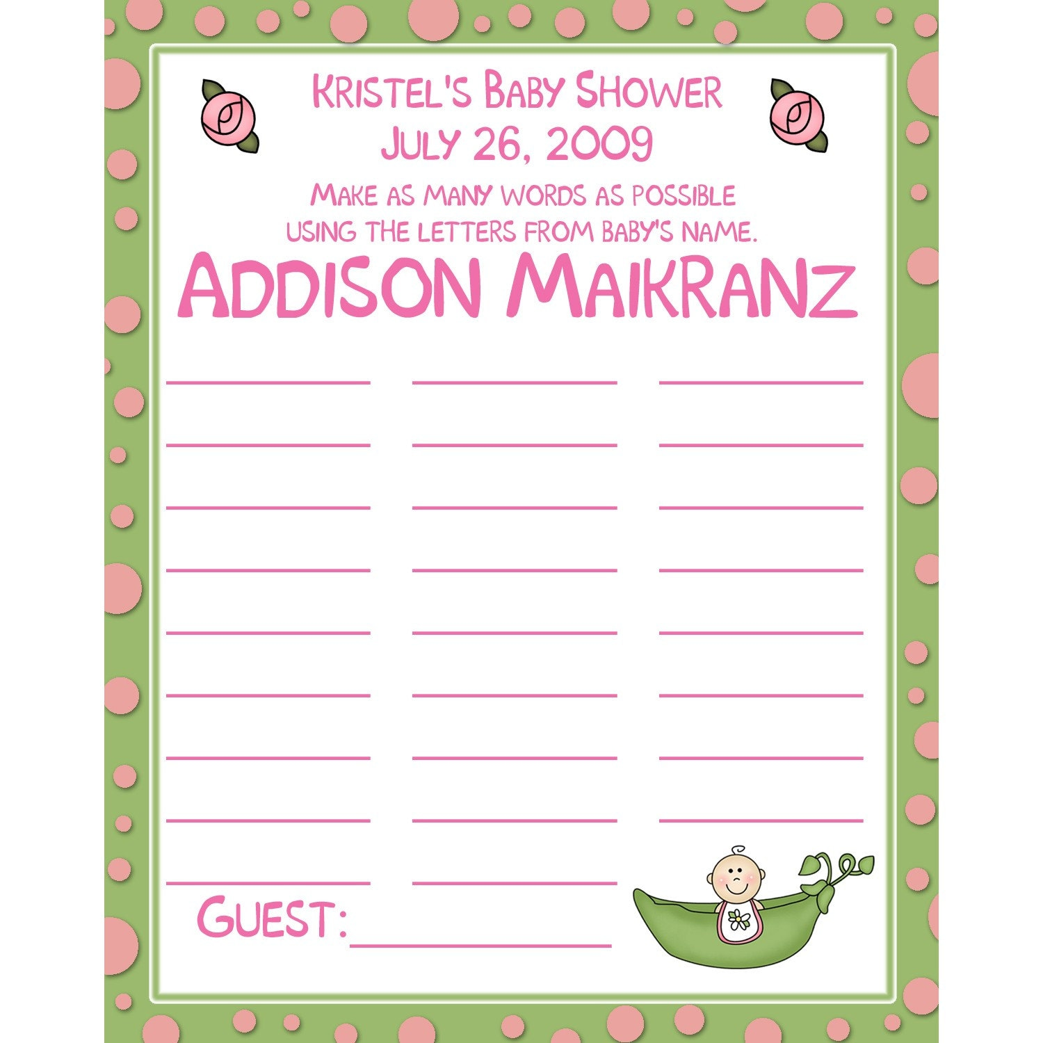 24 Personalized Baby Shower BABY NAME Game Cards Pink