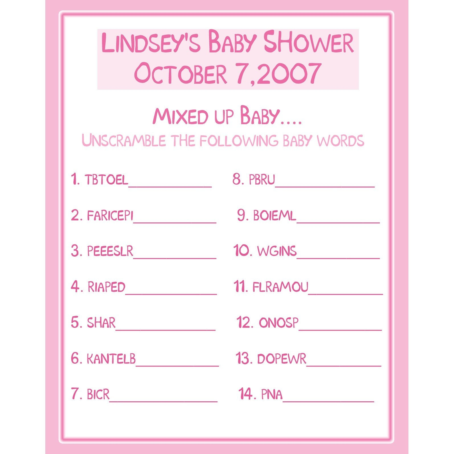 24 Personalized Baby Shower Game Cards Word by partyplace on Etsy