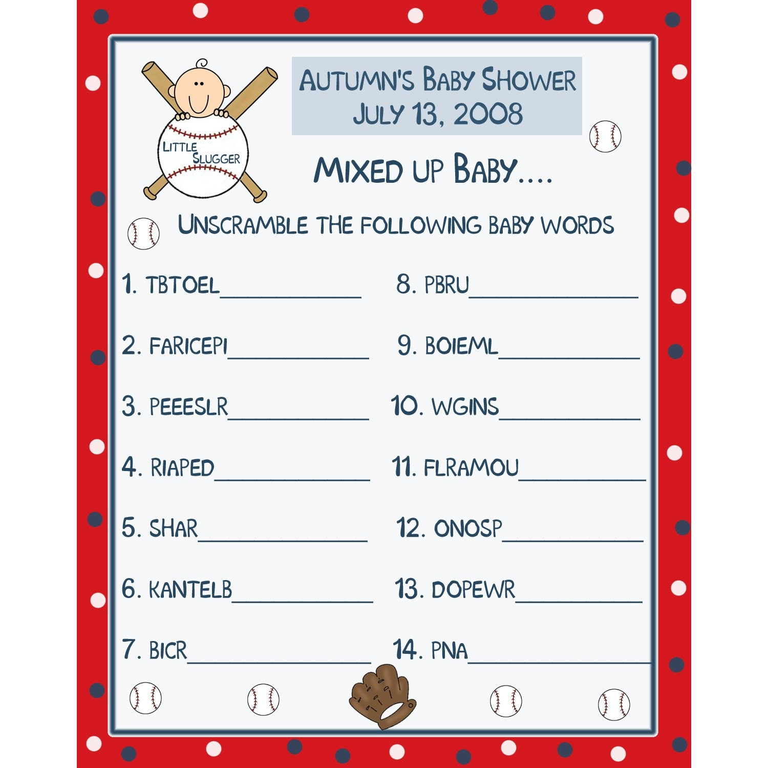 24 personalized baby shower word scramble game cards by partyplace