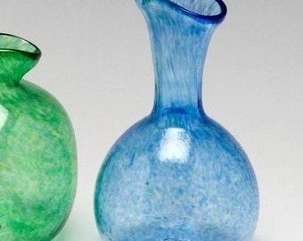 Blue Pinch Bud Vase- Handblown glass