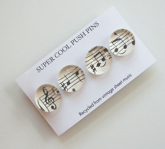 Push Pins - set of 4 - from Vintage Sheet Music