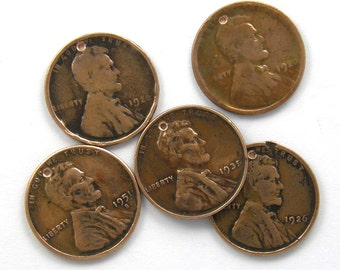 Set of 5 Coin Charms Copper WheatPennies