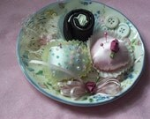Pink and Blue Petite Four Pincushion