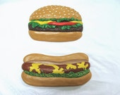 Vintage Chalkware Hamburger and Hotdog Plaques