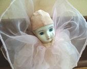 Pink Pierrot Clown Doll 80s