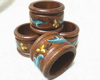 Vintage Handpainted Wooden Napkin rings