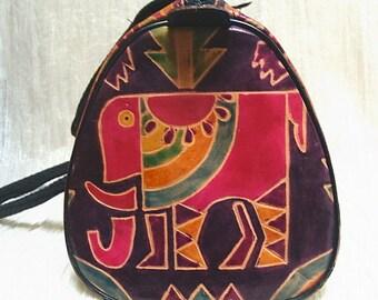 Vintage 90s Colorful Leather Elephant Handbag