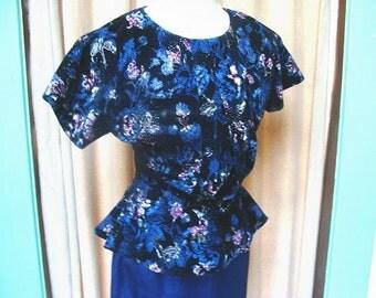 Vintage 80s Satin and Velvet Peplum Dress