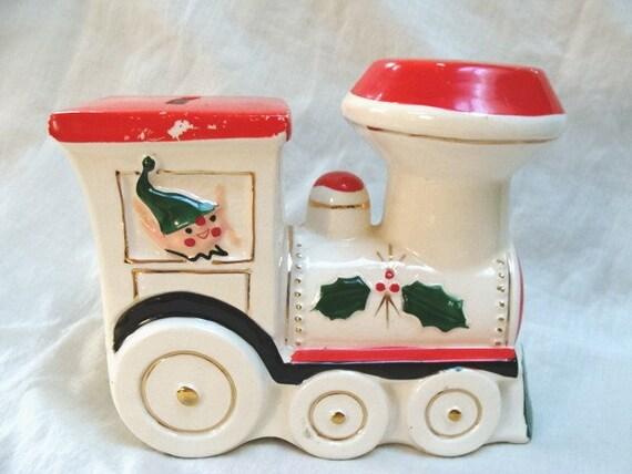 Vintage Santa and Elf Train Bank