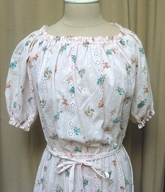 Vintage 70s/80s Printed Eyelet Cotton Dress