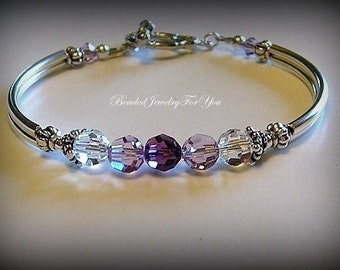 SEVEN Bridesmaid Bracelets: Amethyst Wedding Bracelet, Bridesmaid Jewelry, Bridal Party Gift Set, Wedding Jewelry For Bride, Mother of Bride