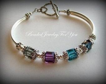 Birthstone Bracelet: Mothers Day Gift, Custom Jewelry, Personalized Bracelet, Handmade Jewelry, Mothers Bracelet, Crystal Jewelry