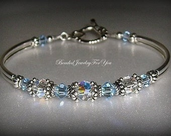 Bridal Party Gift Set of EIGHT: Light Sapphire Crystal Jewelry, Sapphire Blue Jewelry, Blue Crystal Bracelet, Bridesmaid Gift,Something Blue