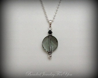 Black Diamond Pendant Necklace: Swarovski Jewelry, Wedding Jewelry, Bridal Jewelry, Jewelry for Brides, Handmade Jewelry, Bridal Sets
