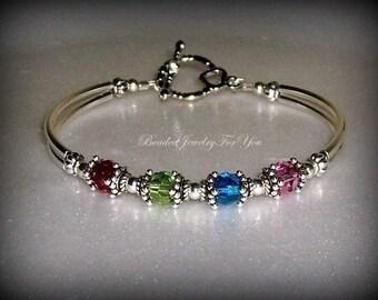 Birthstone Bracelet: Mothers Day Gift, Custom Bracelets, Beaded Bracelets, Personalized Bracelet, Custom Jewelry, Handmade Jewelry, Mom Gif