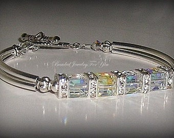 EIGHT Piece Bridal Set: Crystal AB Bangle Bracelet, Wedding Bracelet, Jewelry Sets, Bridesmaid Bracelet, Bridal Sets, Bridal Jewelry, White