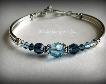 Bridal Gift set of FOUR: Bridesmaid Bracelet, Bridal Party Jewelry, Bridesmaid Bracelet, Wedding, Bridesmaid Jewelry, Wedding Jewelry, blue