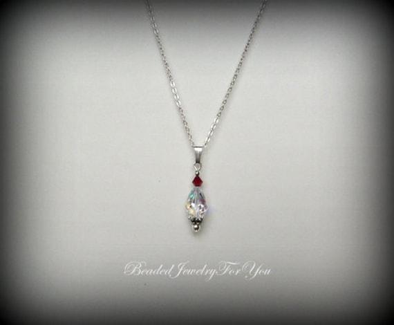 Red Teardrop Necklace: Birthstone Necklace, Custom Jewelry, Crystal Jewelry, Ruby Necklace, Wedding Jewelry, Bridal Jewelry, Necklaces Wome