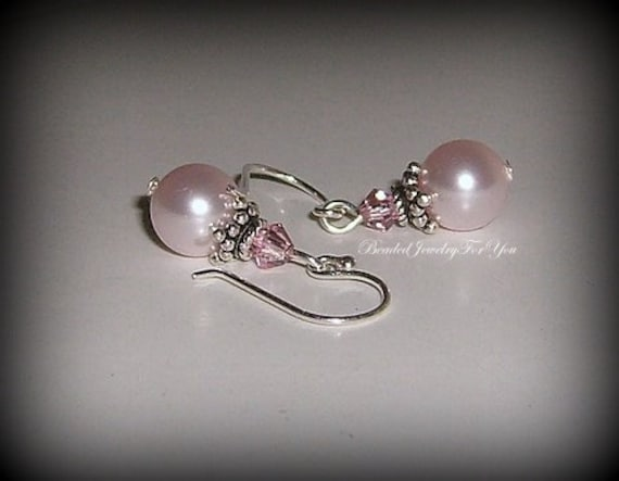 Bridesmaid Earrings: Pink Pearl Bridesmaid Earrings, Wedding Jewelry, Wedding Earrings, Mother of Bride, Maid of Honor, Bridal Party Gift