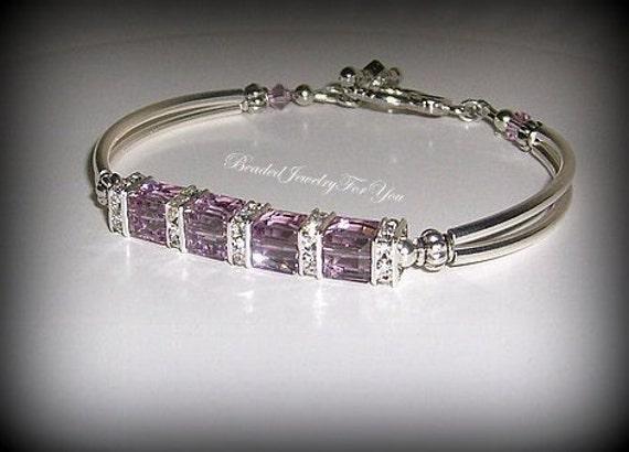 Amethyst Crystal Cube Bracelet: Light Amethyst Jewelry, Purple Bangle Bracelet, Silver Bangle Bracelet, Wedding Party, Bridal Party Gift