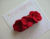 3 pansy in red felt hair clip on 2 inch snap clip