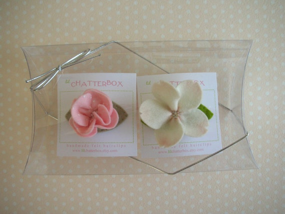 Large clear pillow box with silver loop ribbon